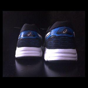 Blue ASICS running shoes